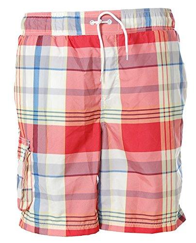 Kitaro Herren Swimshorts Badeshorts Shorts Swimwear Boardshorts Karo Scarlett Red M