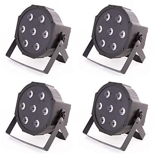 4x ETEC Quad LED PAR Scheinwerfer 7x10 Watt RGBW 4in1 - Party Disco Leuchten DJ Club