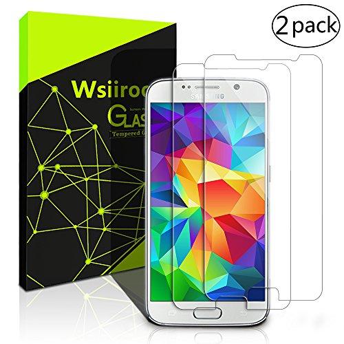 wsiiroon Panzerglas Schutzfolie für Samsung Galaxy S6, 2 Stück, 9H Härte Panzerglasfolie, HD Klar Displayschutzfolie, [Anti-Kratzen] [Blasenfrei] [2.5D Rand]