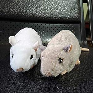 wwwl Juguete de Peluche 2 Piezas Extra Suave Vida Real Mini Ratas Blancas Ratón De Peluche Ratón Realista Animales De Peluche Juguetes Cumpleaños