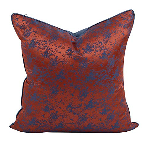 Cushion Covers Throw Pillow Cover Thick Satin Jacquard Square Decorative Pillowcase For Living Room Sofa Chair Bedroom 50cm x 50cm(20x20 Inch) (Without Core) Blue+Orange