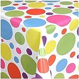 TEXMAXX Wachstuchtischdecke Wachstischdecke Wachstuch Tischdecke abwaschbar (621-00) - 200 x 140 cm - PVC Tischdecke abwischbar, Buntes Punkte Muster in Weiss-Blau-Pink-Lila-Gelb