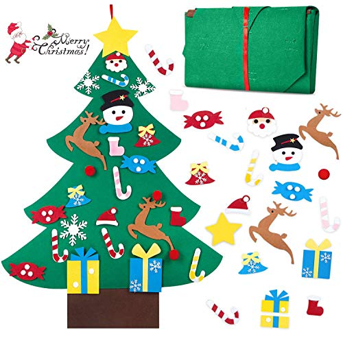 HBlife Felt Christmas Tree, 3ft DIY Christmas Tree with 26 Pcs Ornaments Wall Decor with Hanging Rope for Kids Xmas Gifts Home Door Decoration