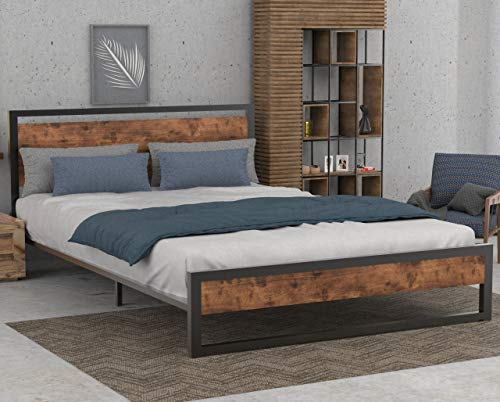 SHA CERLIN Queen Bed Frame with Wooden Headboard Metal Slats, High Metal and Wood Platform Bed, No Box Spring Needed