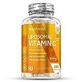 Vitamine C Liposomale 1000mg - 180 gélules (Fabriqué en UE) - Renforce système immunitaire et anti fatigue vitamines - Complement alimentaire peau/cheveux - Soutien absorption Maximale de Vitamine C