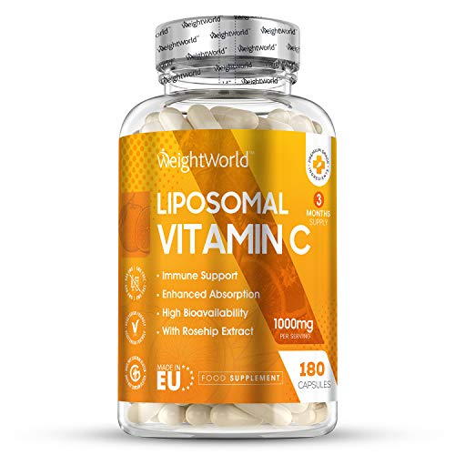 WeightWorld Liposomal Vitamin C Capsules - 1000mg - 180 Capsules (3 Month Supply) Pure Vegan Liposomal Vitamin C, Immune Boost, High Strength Max Bioavailability Tablets, Aids Health & Protects Body