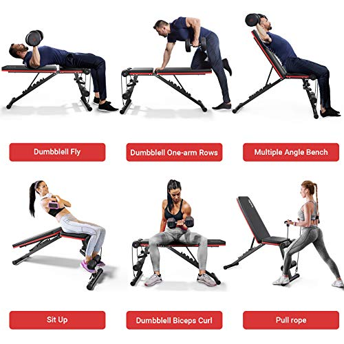 Homfio Weight Bench Adjustable and Foldable Workout Bench Press for Strength Training Benches, with Fast Folding Incline Decline Exercise Workout Utility Gym Bench for Full Body Workout for Home Gym