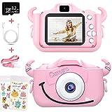 Caiery Máquina de fotos para niños, cámara digital para selfies con tarjeta SD de 32 GB, portátil, videocámara, regalo de Navidad para niños (rosa)