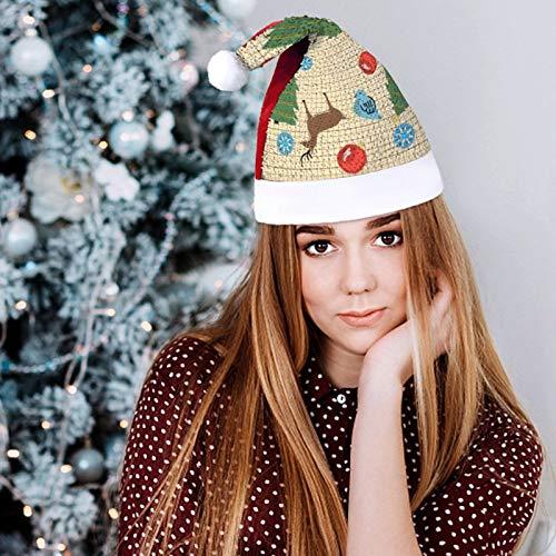 onepicebest Sombrero de Navidad primitivo de ciervo azul con diseo de pjaro de Pap Noel, gorro rojo con purpurina de Pap Noel, calcetn de Navidad, suministros de fiesta y recuerdos