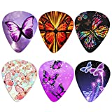 Qingeng 6 Packs Guitar Picks with Beautiful Butterfly Guitar Plectrums for Acoustic/Bass/Electric Guitar