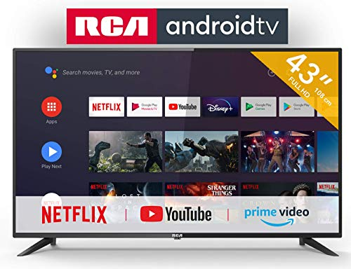 RCA RS43F2 Smart TV (43 inch HD Android TV with Google Assistant, Google Play Store, Prime Video, Netflix) HDMI, USB, WiFi, BlueTooth, Triple Tuner (DVB-C / -T2 / -S2)