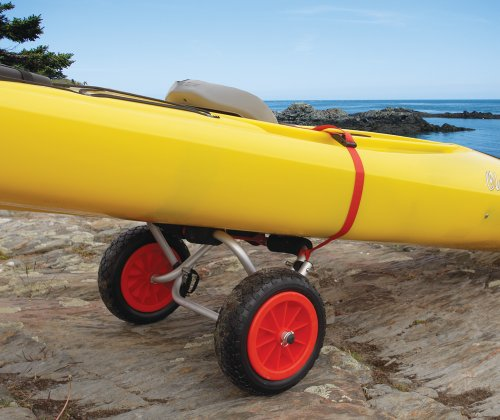 """Malone Nomad Standard Universal Kayak Cart 3 Aluminum frame ideal for kayaks Includes airless """"Never-Go-Flat"""" removable 10"""" tires Oversized padded frame protects boat and includes stabilizing locking kickstand"""