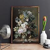 Póster de lienzo de flores vintage, naturaleza muerta, planta, estampado de flores, galería, sala de estar, decoración del hogar, cuadro de arte de pared, 30x40cm sin marco