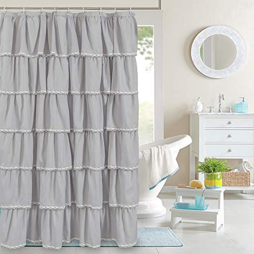 YOSTEV Ruffle Shower Curtain Farmhouse Fabric Cloth Shower Curtains with Lace for Bathroom,Standard Size 72x72 Inches,Grey