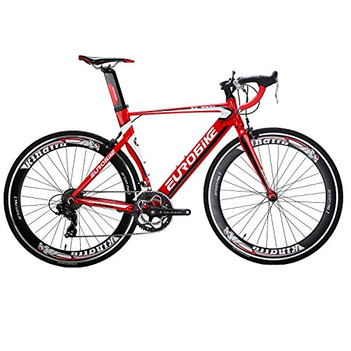 Eurobike XC7000 14 Speed 54 cm Light Aluminum Frame Road Bike Fashion 700C Racing Bicycle Red