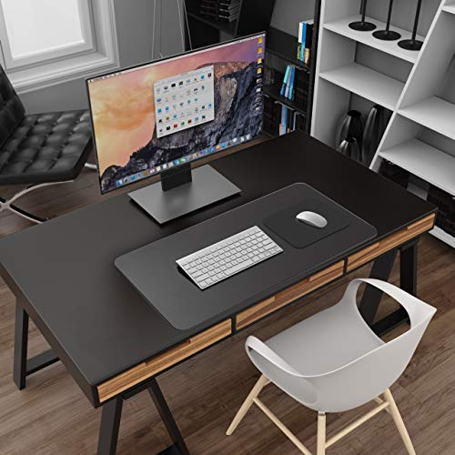 """YSAGi Clear Desk Pad Protector, Round Edge Non Slip Clear Writing Mat, 31.5""""x15.7"""" Waterproof PVC Clear Desk Mat with 7.9""""x9.8"""" Waterproof PU Leather Mouse Pad for Office/Home (Frosted+Black) Photo #6"""