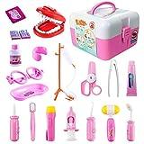 ThinkMax Doctors Kit, 20 Stück Medical Play Set Zahnarzt Spielzeug für Kinder (20 Stück rosa)
