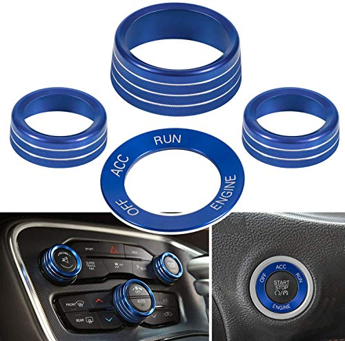 SDGH 4 Piezas de la Cubierta del botón del acondicionador de Aire y el botón de Arranque del Motor Decoración de la Perilla para 2015-2020 Dodge Challenger Charger,Azul