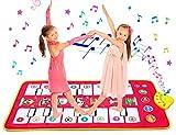 homealexa tappeto musicale bambini 105 * 51 cm piano mat tastiera ballo stuoia musica tastiera pianoforte con 7 suoni animali strumenti musicali giocattolo gioco educativo regalo natale per bambini