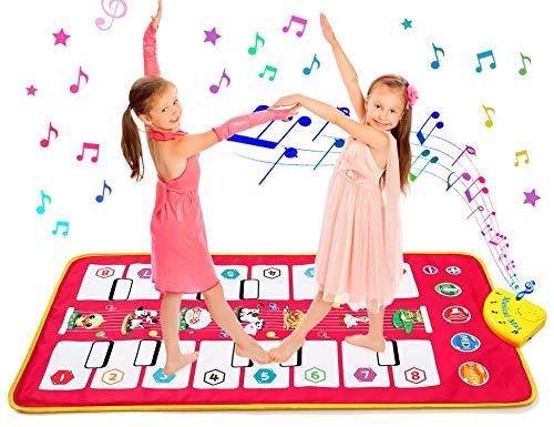 Homealexa Klaviermatte Kinder Piano Mat Tanzmatten Musikmatte mit 7 Tierstimmen Klaviertastatur Spielzeug Musik Matte, Keyboard Matten Spielteppich für Jungen Mädchen Kinder 105*51 cm