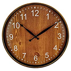 Foxtop Retro Wall Clock, Silent Non-Ticking 12 Inch Quartz Round Battery Operated Home Clock (Arabic Numbers, Plastic Frame, Brown Color)