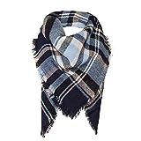 Surblue Warm Stylish Elegant British Style Color Blocking Plaid Shawl Scarf Blanket, Navy