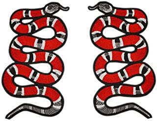 TENNER.LONDON A Pair of Coral Snake Embroidery Patch Iron on or Sew on Embroidered Motif King Snake Transfer Applique