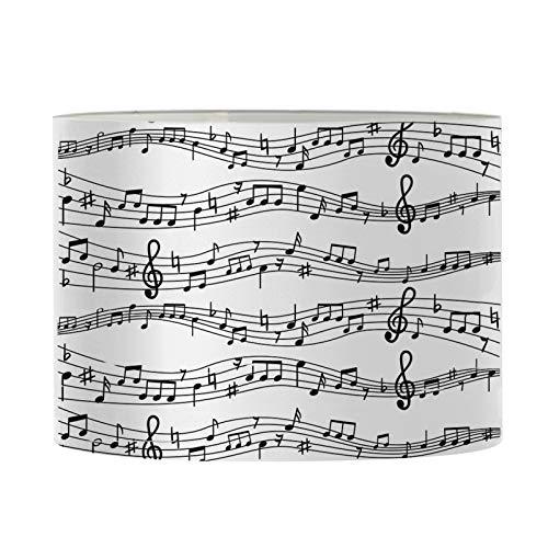 Agroupdream Pantalla cilíndrica blanca para lámpara de techo de pared y mesa de lámpara cálida de noche para lámpara de noche cubierta de notas musicales pequeñas 28,5 x 17 x 28,5 cm