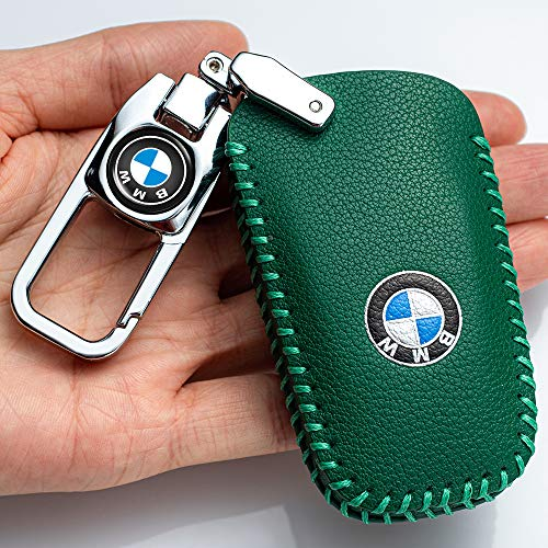 Car Key fob Cover Key case for BMW Genuine Leather Protector Keychain GT3 GT5 X3 X4 1 2 3 4 5 Series Key fob Cover Key Holder, 4 Button Smart Key