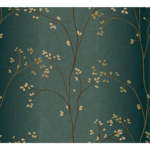 York Wallcoverings Blossoms Prepasted Removable Wallpaper, Teal/Bronze