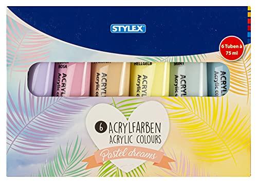Stylex 28629 - Pastell Acrylfarben im Set, 6 Tuben á 75 ml, auf Wasserbasis hergestellt, matt, hohe Deck- und Farbkraft, lichtbeständig, schnelltrocknend und wasserfest