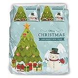 DOGCATPIG Home - Juego de colcha para parejas, diseño de árbol de Navidad y año nuevo, 100% fibra de poliéster, color blanco