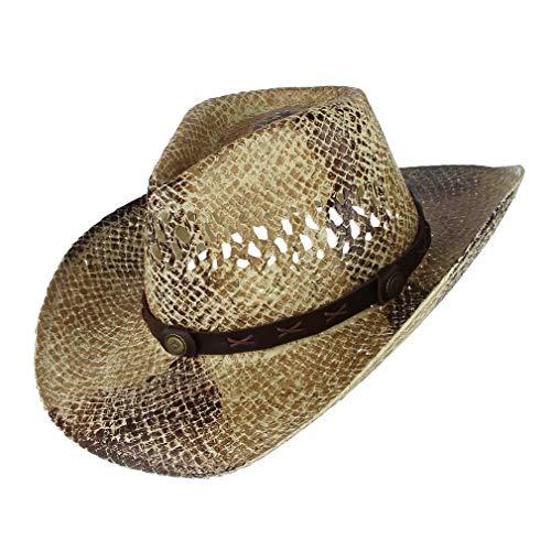 GEMVIE Sombrero de Vaquero para Mujer Hombre Gorro Gorra de Cow Boy Marrón