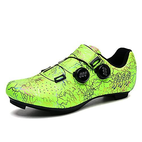 KUXUAN Calzado de Ciclismo para Hombre - Calzado de Bicicleta de Carretera con Candados, Calzado Deportivo para Hombre y Mujer,Green-5UK=(240mm)=38EU