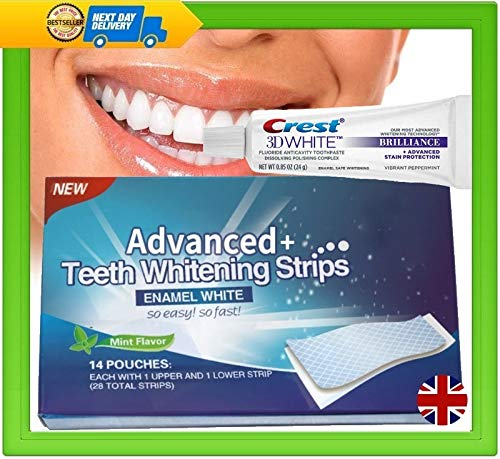 Crest 3D Brilliance Whitening Toothpaste & 28 Advanced Plus Teeth Strips Professional Whitening Fast Delivery