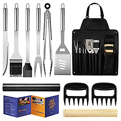 Veken BBQ Grill Accessories, Stainless Steel BBQ Tools Set for Men & Women Grilling Utensils Accessories with Storage Apron Gift Kit for Barbecue Indoor/Outdoor