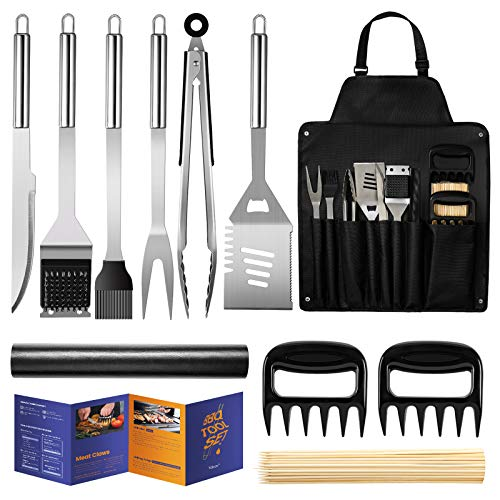 Best grill set - Veken BBQ Grill Accessories, Stainless Steel BBQ Tools Set for Men & Women Grilling Utensils Accessories with Storage Apron Gift Kit for Barbecue Indoor Outdoor
