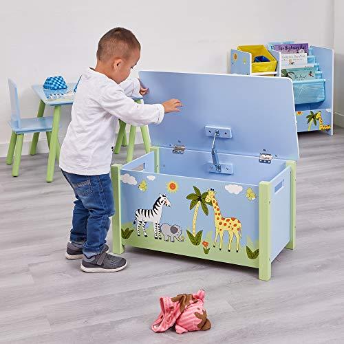 Liberty House Toys-Caja para Juguetes, Madera, diseño de Safari, Multicolor