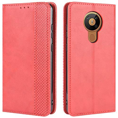 HualuBro Handyhülle für Nokia 5.3 Hülle, Retro Leder Stoßfest Klapphülle Schutzhülle Handytasche LederHülle Flip Hülle Cover für Nokia 5.3 Tasche, Rot