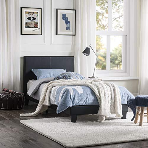 LIFE CARVER Single Bed Frame Platform Upholstered Black Bed Solid Children Bed with tall Headboard Faux Leather Bedroom Furniture 90x190 cm
