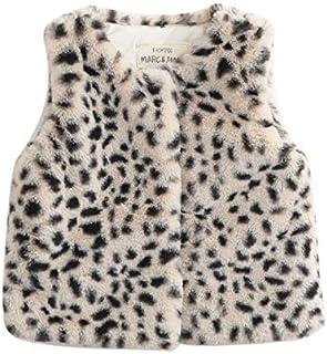 12-18 Months 11080062B-S Brown, Small Mud Pie Baby Girl Faux Leopard Fur Vest