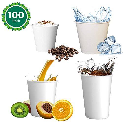 Skiokko - 120 Ml 4 Oz Set da 100 Tazzine Caffe di Cartoncino Bio Bianco, Eco-Compatibile per Macchina caffè Espresso, o Americano Tazza Termica di Car