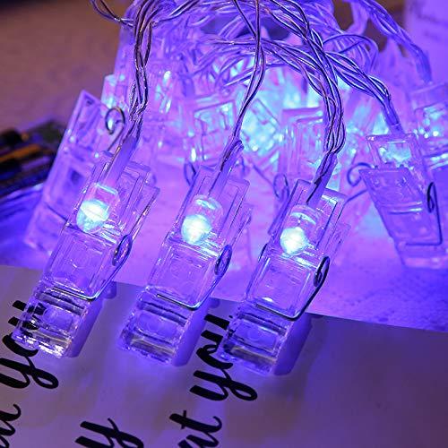 40 LED-Foto-Clip-Lichterkette, batteriebetrieben, 8 Farben, für Party, Hochzeit, hängende Fotodekoration, Kunstwerke, Weihnachtskarten, Geschenk