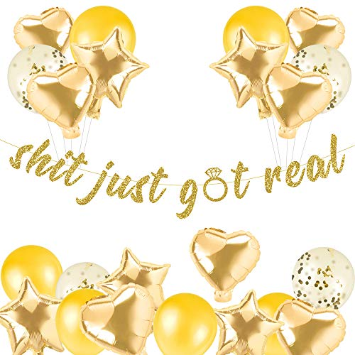 Gold Glitter Shit Just Got Real Banner for Retirement Party Decorations, Graduation,Valentine's Day Wedding Engagement Bridal Shower Birthday Party Anniversary Celebrate Banner Decorations Photography Props Decor