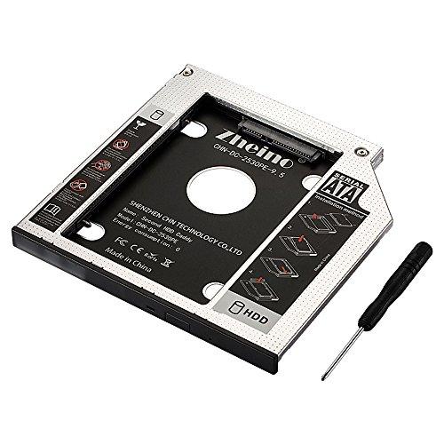 Zheino 9.5mm Aluminum SATA Second HDD Caddy Festplattenrahmen 2. HDD/SSD Caddy Adapter SATA Festplatte für Notebook mit SATA Laufwerkschacht universal CD/DVD-Rom