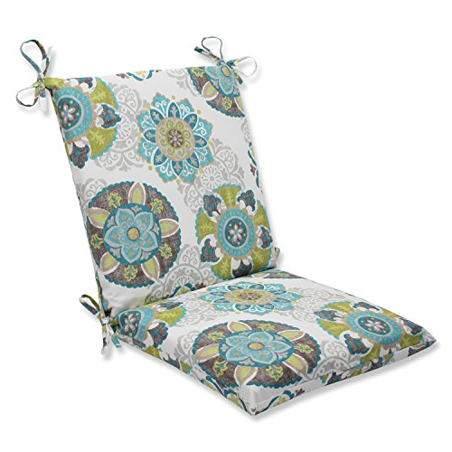 """Pillow Perfect Outdoor/Indoor Allodala Oasis Square Corner Chair Cushion, 36.5"""" x 18"""", Blue"""