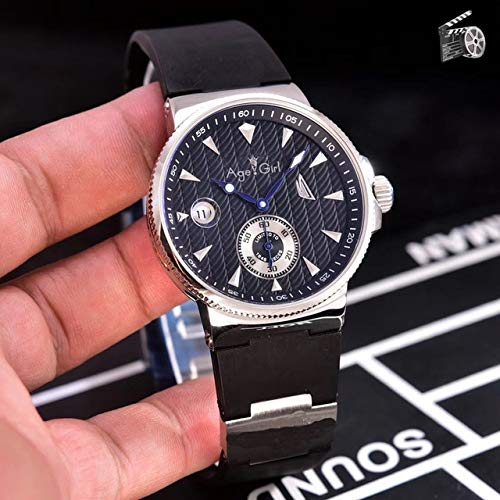 GFDSA Automatische horloges Luxe merk Heren Automatische mechanische horloges Zwart Blauw Rubber Sporthorloge Dubbele kalender Limited