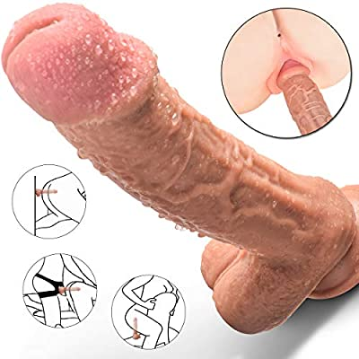 Realistic Dildo, 10 Inch Dual-Density Silicone Huge Penis with Strong Suction Cup for Hands-Free Play Flexible Dong for Vaginal G-spot and Anal Masturbation
