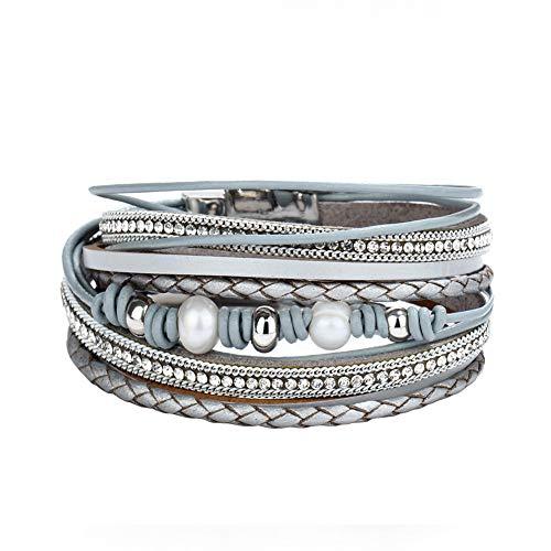 Lv.unique Frauen Armband Seil Surround Kristall Armband DIY Multilayer Lederarmband, Metall mit Magnetschnalle Charm Armband Armband Frauen Handmade Schmuck Braid Armband (Graue Perlen)