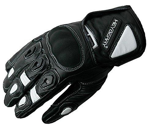 HEYBERRY Motorradhandschuhe kurz Leder schwarz weiß Gr. L